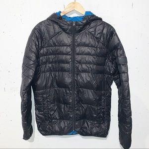 Jack & Jones Core Puffer Jacket Zip Up Black and Blue Size XL Winter Fall